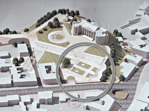 Архитектор Миргородский предложил накрыть фундамент Десятинной стеклянным куполом в виде креста (в круге).
